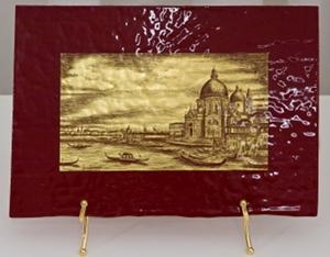 Canaletto basilica della Salute foglia oro su vetro di Murano