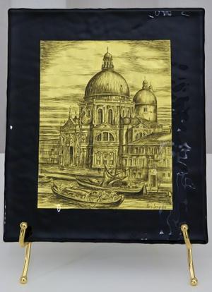Canaletto lastra di vetro di murano con graffito su foglia d'oro